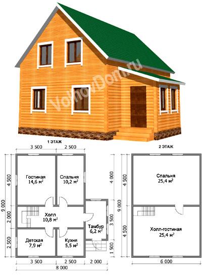 Projekt vidieckeho domu 6x6